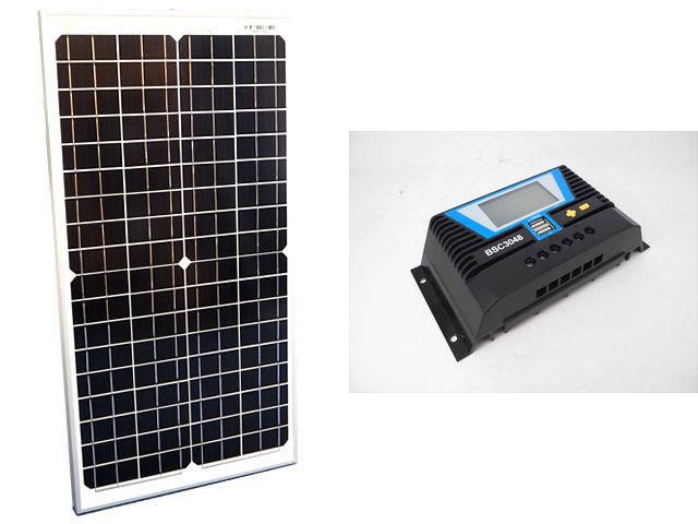 ソーラーパネル30W(35.6V)×2枚 (60Wシステム:48V仕様)+BSC3048(30A)の写真です。