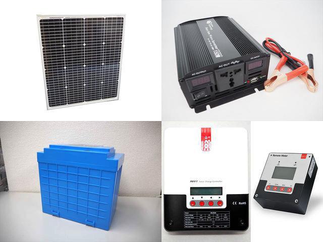 75W(66.5V) 太陽光発電システム(48V仕様) YB3150 SR-ML4830+SR-RM-5の写真です。