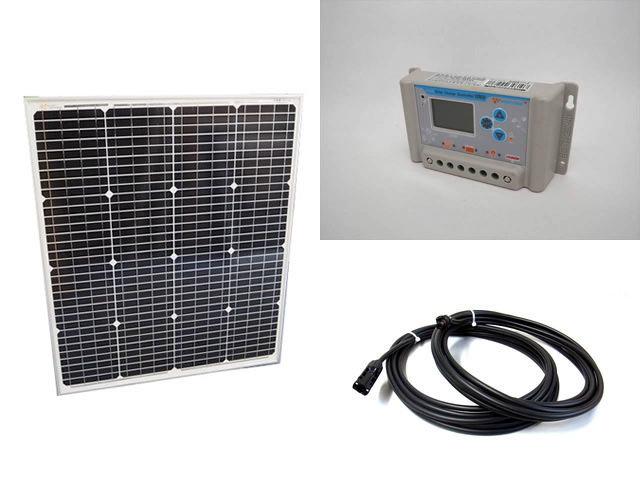ソーラーパネル75W(66.5V)+PWM SL03-4810A(10A)の写真です。