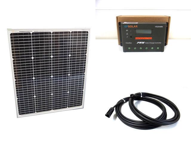 ソーラーパネル75W(66.5V)+VS2048N(20A)の写真です。