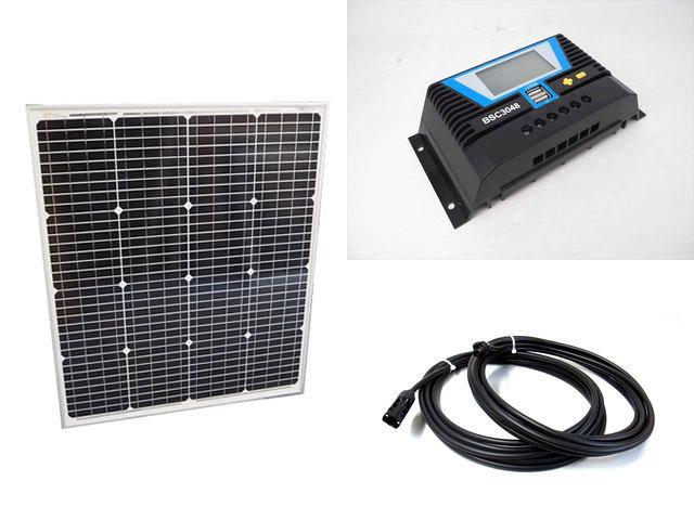 ソーラーパネル75W(66.5V)+PWM BSC3048(30A)の写真です。