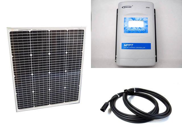 ソーラーパネル75W(66.5V)+XTRA3415N-XDS2(30A)の写真です。