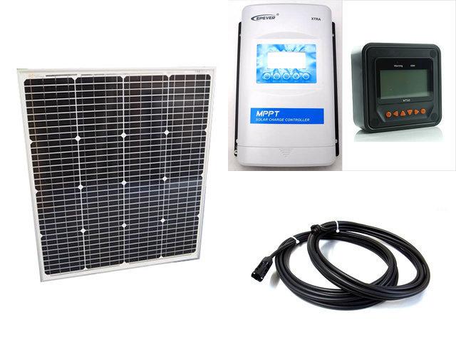 ソーラーパネル75W(66.5V)+XTRA3415N-XDS2(30A)+ MT50の写真です。