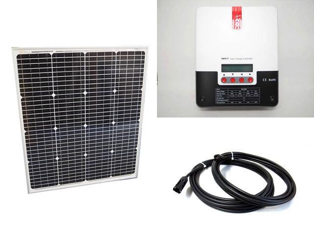 ソーラーパネル75W(66.5V)+SR-ML4830(30A)の写真です。
