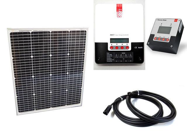 ソーラーパネル75W(66.5V)+SR-ML4830(30A)+ SR-RM-5の写真です。