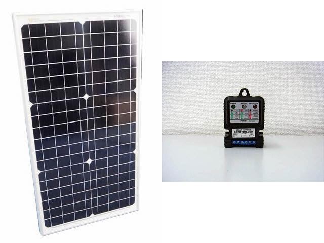 ソーラーパネル30W+SJ5A(5A) ※12V/24V 常時出力タイプの写真です。