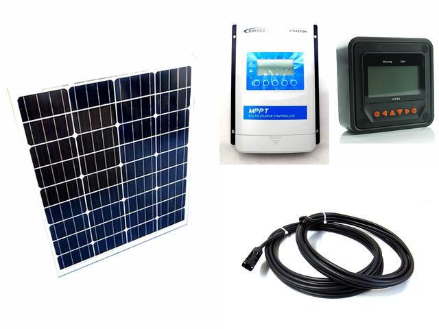 ソーラーパネル80W×2枚 (160W)+XTRA3210N-XDS2(30A)+ MT50の写真です。