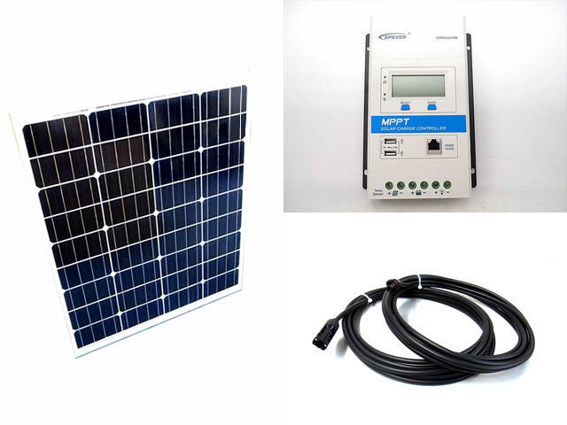 ソーラーパネル80W×2枚 (160Wシステム)+TRIRON2210N-DS1-UCS(20A)の写真です。