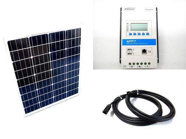 ソーラーパネル80W×2枚 (160Wシステム)+TRIRON3210N-DS2-UCS(30A)の写真です。