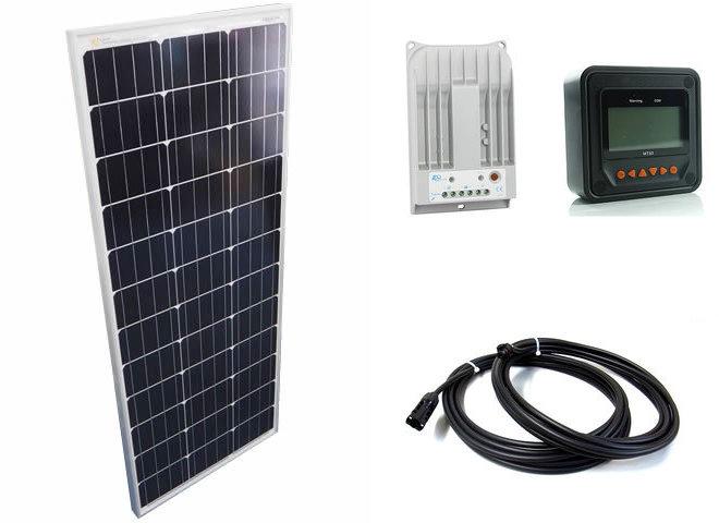 ソーラーパネル100W+Tracer-1215BN(10A)+MT50の写真です。