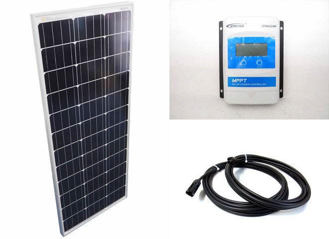 ソーラーパネル100W+XTRA1210N-XDS1(10A)の写真です。