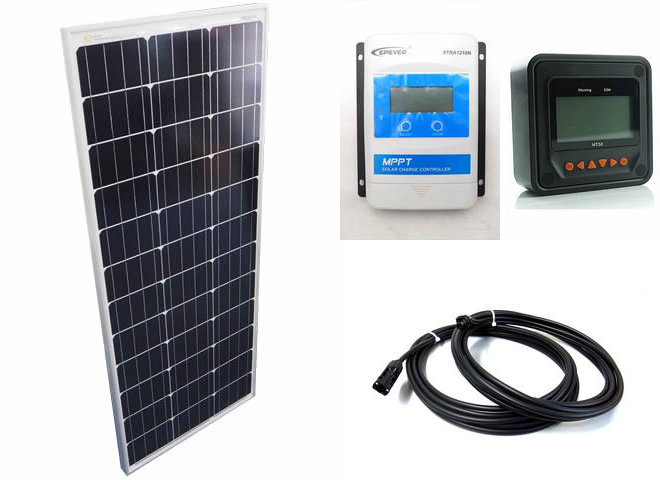 ソーラーパネル100W+XTRA1210N-XDS1(10A)+ MT50の写真です。