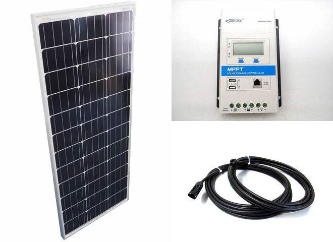 ソーラーパネル100W+TRIRON2210N-DS1-UCS(20A)の写真です。