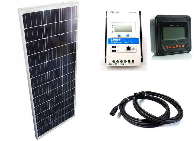 ソーラーパネル100W+TRIRON2210N-DS1-UCS(20A)+ MT50の写真です。