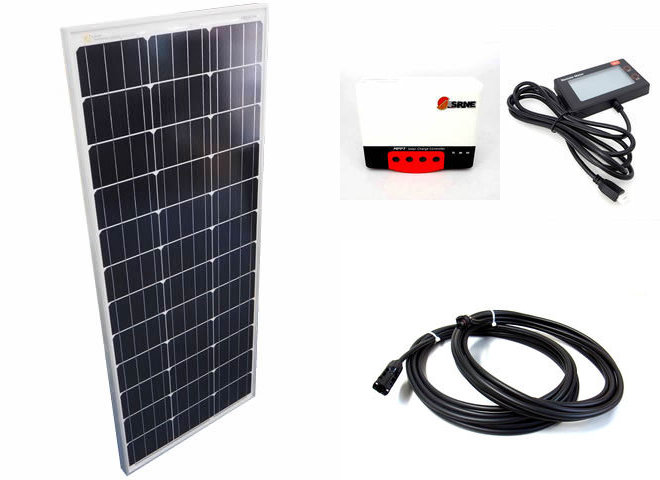 ソーラーパネル100W+SR-MC2420N10(20A)+RM-6の写真です。