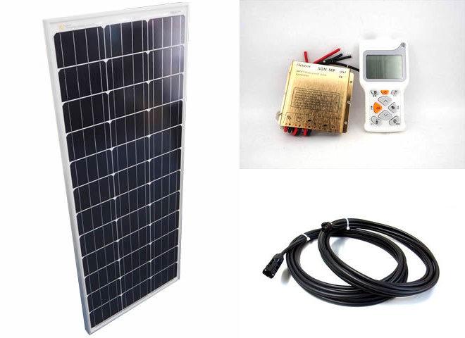 ソーラーパネル100W+防水MPPT SDN-M-40W(10A)+リモートコントローラー RC-3の写真です。