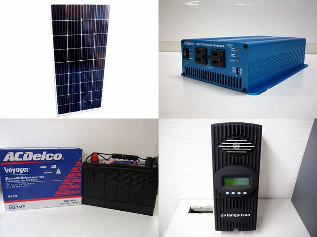 160W×4枚(640W)太陽光発電システム(48V仕様) SK700 Fangpusun-FM-60の写真です。