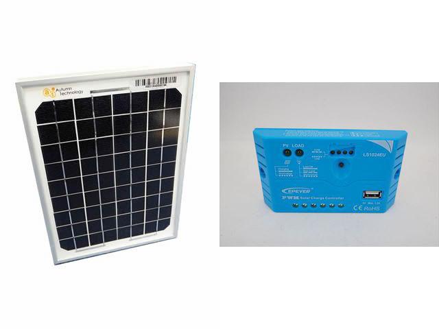 ソーラーパネル5W+LS1024EU(10A)の写真です。