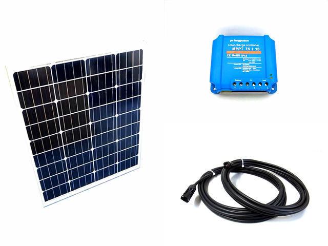 ソーラーパネル80W×2枚(160Wシステム:24V仕様)+Fangpusun MPPT75/10(10A)の写真です。