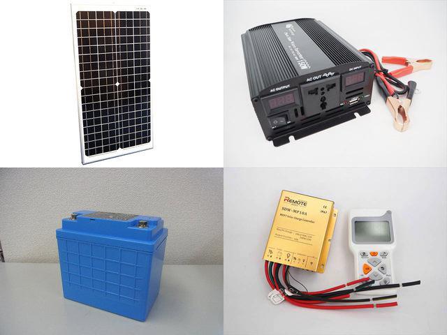 30W(35.6V)×2枚 60W 太陽光発電システム(24V仕様) YB3150 SDW-MP-1024+ リモートコントローラー RC-3の写真です。