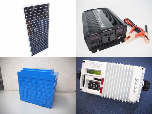 100W(35.5V)×2枚(200W) 太陽光発電システム(48V仕様) YB3150 MNKID-M-W(30A)の写真です。
