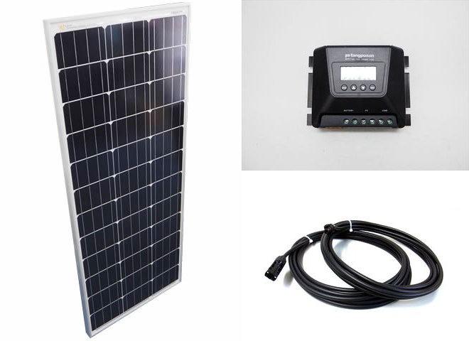 ソーラーパネル100W+Fangpusun MPPT100/15D(15A)の写真です。