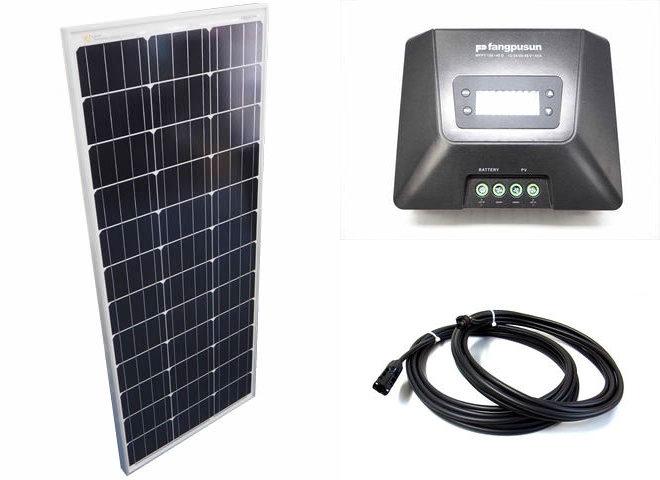 ソーラーパネル100W×4枚(400W:4直列)+Fangpusun MPPT150/45D(45A)の写真です。