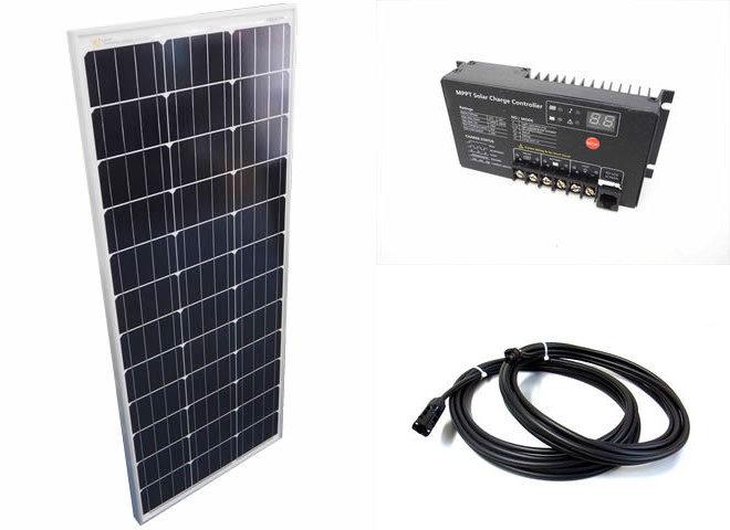 ソーラーパネル100W+SR-MT2410(10A)の写真です。