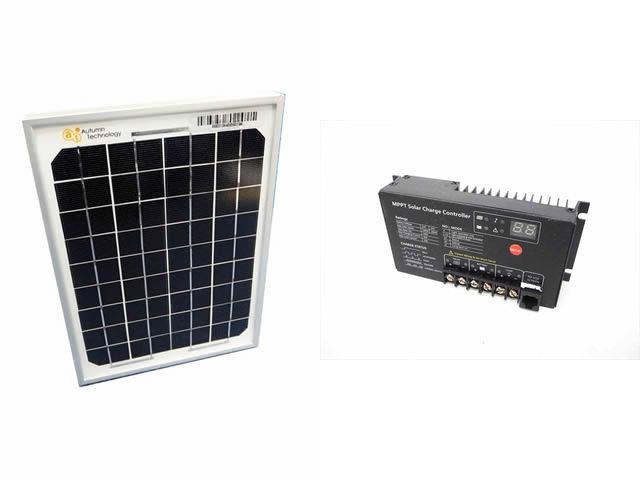 ソーラーパネル5W+SR-MT2410(10A)の写真です。