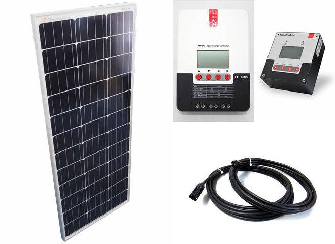 ソーラーパネル100W+SR-ML2420(20A)+ SR-RM-5の写真です。