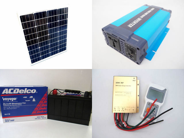 80W×3枚 (240W) 太陽光発電システム HL-600P SDW-MP-2024(20A)+ リモートコントローラー RC-4の写真です。