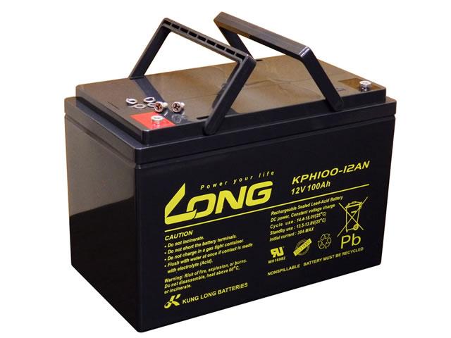 LONG 12V100Ah ディープサイクルバッテリー (KPH100-12AN)の写真です。