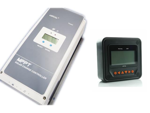 MPPTチャージコントローラー Tracer8420AN(80A)+リモートコントローラーMT50の写真です。