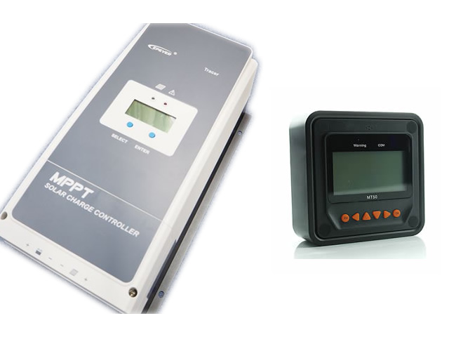 MPPTチャージコントローラー Tracer10420AN(100A)+リモートコントローラーMT50の写真です。
