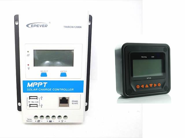 MPPTチャージコントローラー TRIRON1206N-DS1-UCS(10A)+リモートメーター MT50の写真です。