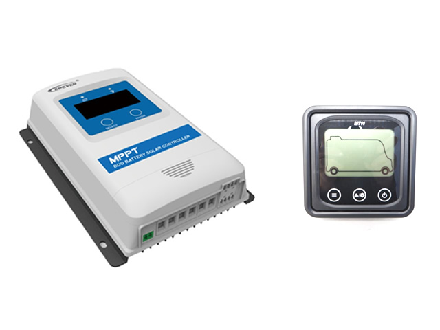MPPTデュアルバッテリーチャージコントローラー DuoRacer DR2210N-DDS(20A)+リモートメーター MT11の写真です。