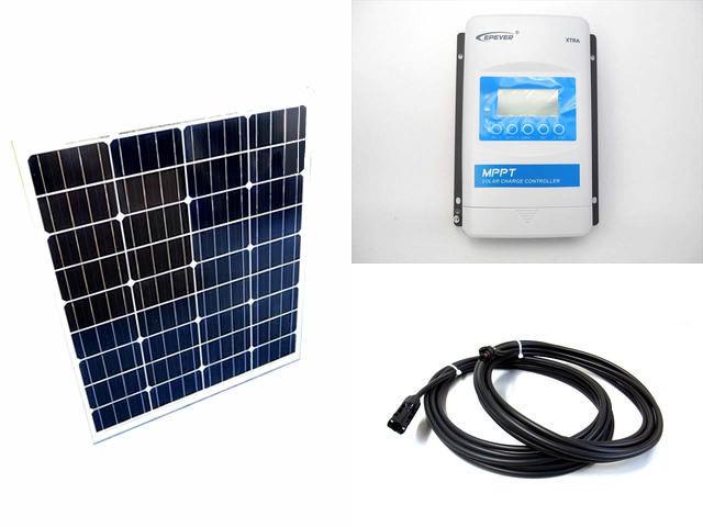 ソーラーパネル80W×2枚 (160W)+XTRA2210N-XDS2(20A)の写真です。
