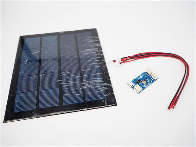 3.7Vリチウムイオンバッテリー用 ソーラーモジュール+リチウム電池充電チップ CN3065 セットの写真です。