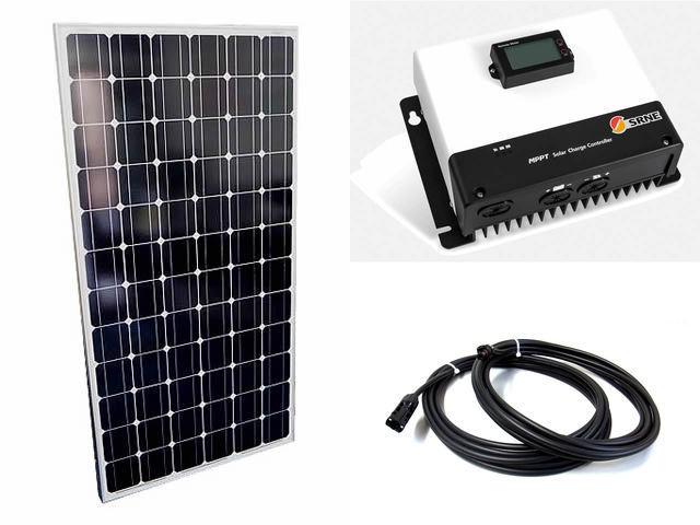 ソーラーパネル200W×9枚(1,800Wシステム:48V仕様)+MC4885N25(85A)の写真です。
