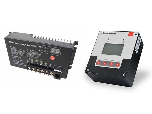 MPPTチャージコントローラー MT2410N10(10A)+リモートコントローラー SR-RM-5の写真です。