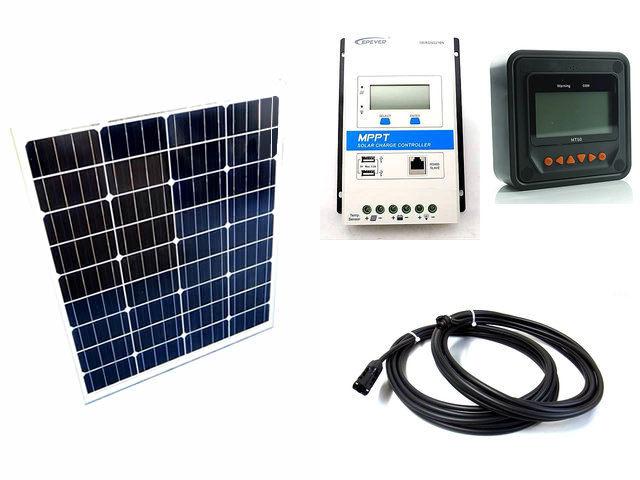 ソーラーパネル80W×2枚 (160Wシステム)+TRIRON2210N-DS1-UCS(20A)+ MT50の写真です。