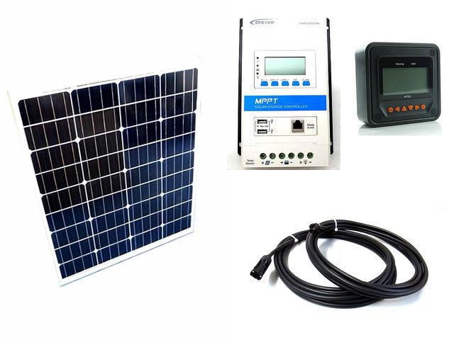 ソーラーパネル80W×2枚 (160Wシステム)+TRIRON3210N-DS2-UCS(30A)+ MT50の写真です。